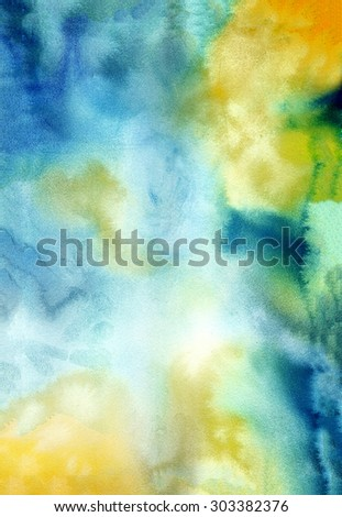 Bright yellow and blue watercolor background. Abstract hand-drawn texture for image editing and design - stock photo
