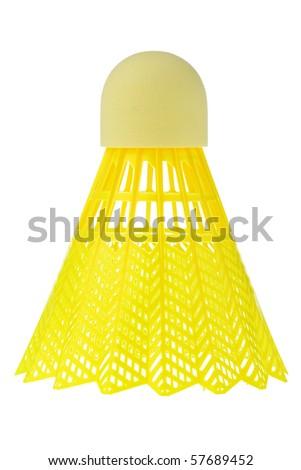 Bright yellow badminton shuttlecock isolated on white background. - stock photo