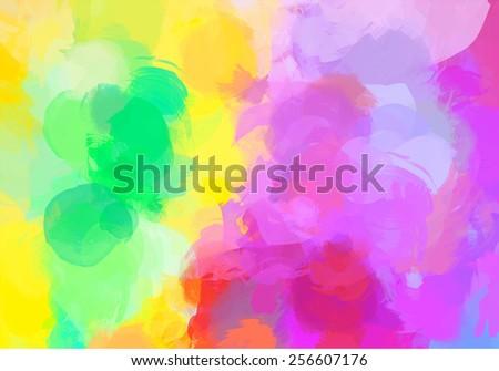 Bright yellow brush strokes background. Raster version - stock photo
