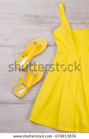 Midi Dress Stock Royalty Free & Vectors #0: stock photo bright yellow dress and sandals on a light background beach clothes for girls