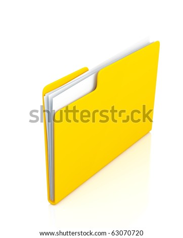 Bright yellow folder with papers on a white background - stock photo