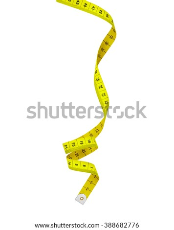 Bright yellow measuring spiral isolated on white background - stock photo