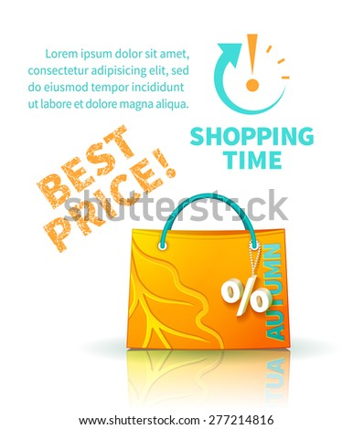 Bright yellow shopping bag with advertising seasonal autumn sale and trinket in form of percent and lettering of best price and icon shopping time - stock photo