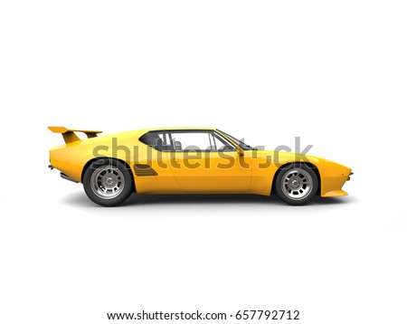 Yellow Concept Sports Car Side View Stock Illustration