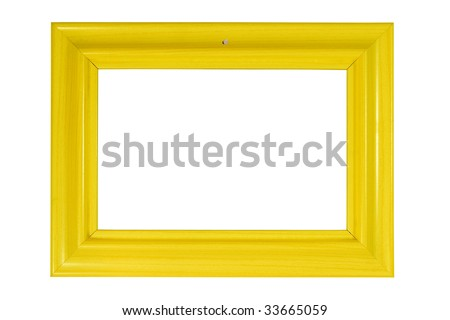 Bright yellow wooden photo frame (with empty space for your text, photo or picture) hanging on a nail and isolated on white - stock photo
