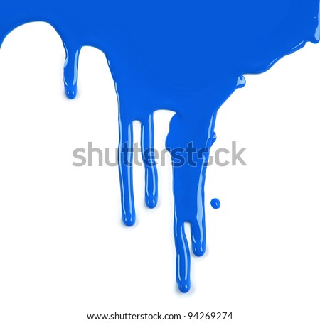 Brightly Colored Blue Paint Drips on White Background - stock photo