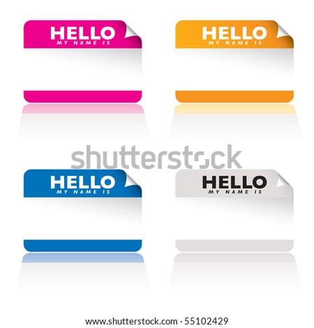 Brightly colored name tag card with corner curl and shadow reflection