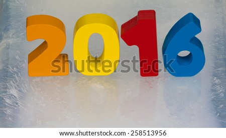 brightly colored numbers 2016 calendar on the ice surface