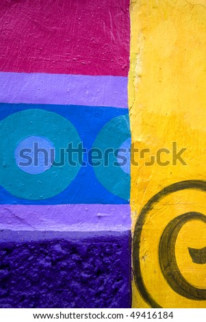 Brightly colored wall in Mexico - stock photo