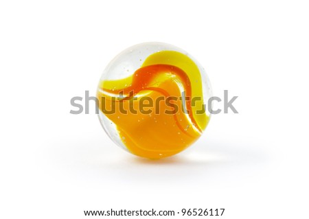 Brightly coloured glass marble isolated on white - stock photo