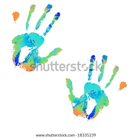 brightly coloured hand print with ink splats illustrations