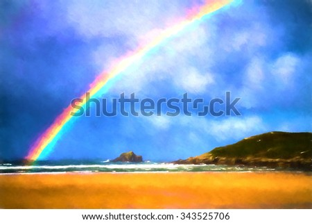 Brightly coloured rainbow at the beach with island sand and sea Crantock Newquay Cornwall UK like water colour - stock photo