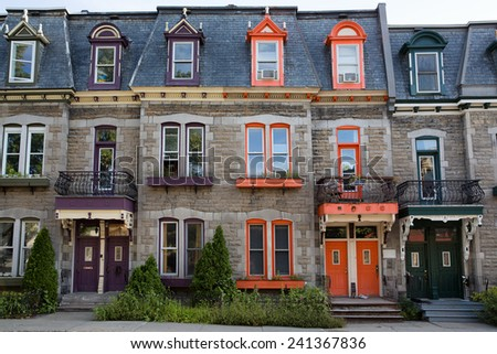 Brightly coloured town houses in Montreal, Quebec, Canada - stock photo