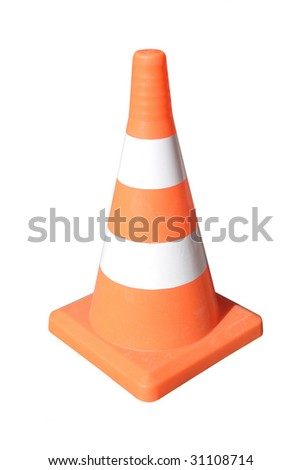 Brightly coloured traffic cone under the white background - stock photo