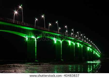 Brightly Illuminated Viaduct at night (Seudre / France) - stock photo