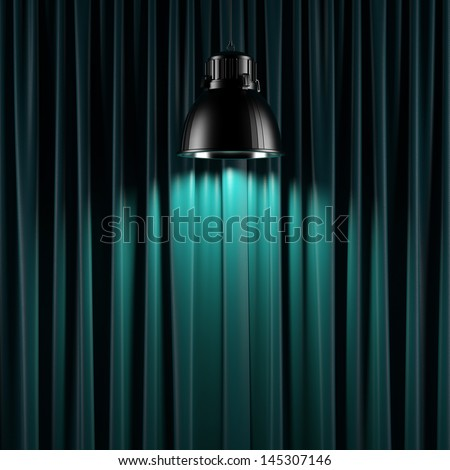 Brightly lit curtains - stock photo