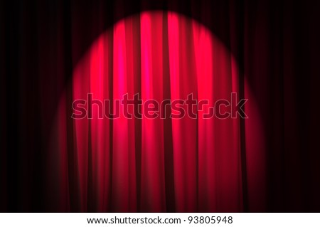Brightly lit curtains in theatre concept - stock photo