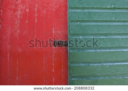 Brightly painted wooden hut, background - stock photo