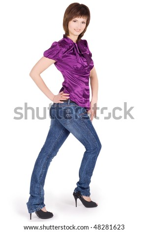 Brightly pictur of young lady posing over white background