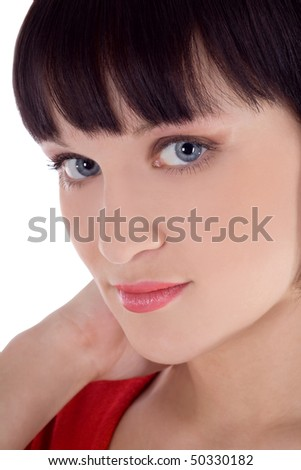 Brightly picture of lovely woman over white