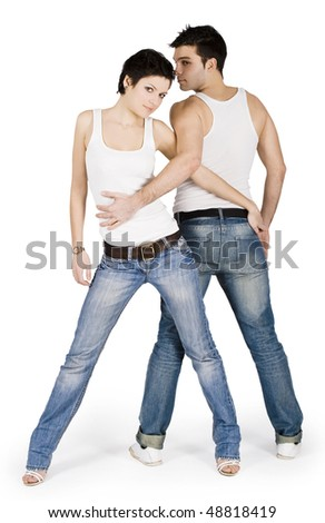 Brightly picture of the young handsome couple - stock photo