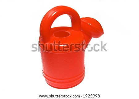 brightly red watering-can on a white background - stock photo