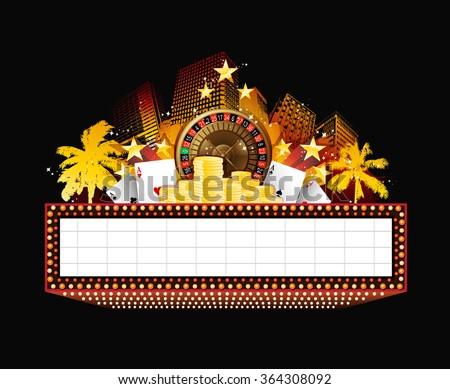 Brightly theater glowing retro casino neon sign - stock photo