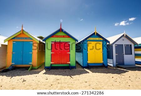 Brighton Bay Beachhouses in Melbourne city, Australia - stock photo