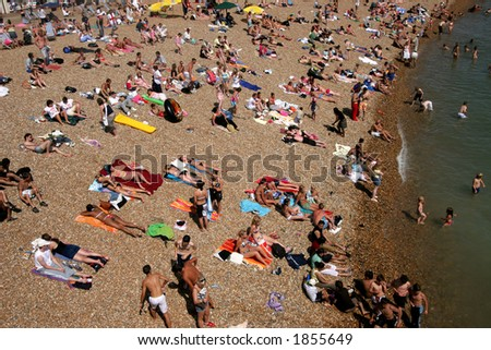 Brighton Beach in Summer - stock photo
