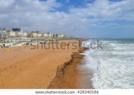 Brighton beach on a windy day, United Kingdom