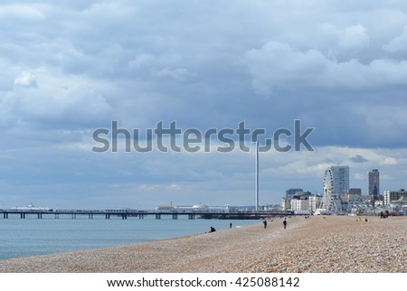 Brighton, England. Seafront view with Pier and i360 Tower - stock photo