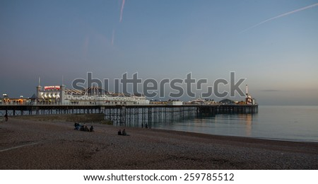 Brighton Palace Pier at sunset on February 8th, 2015 - stock photo