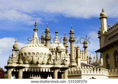 Brighton Pavilion rooftops - stock photo