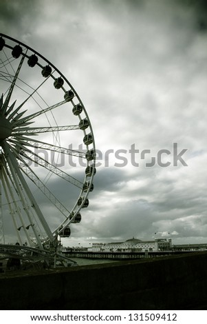 Brighton seafront with pier and ferris wheel - stock photo
