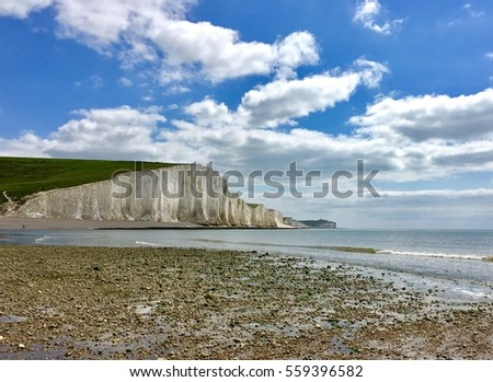 Brighton seven sisters cliff and pebble beach