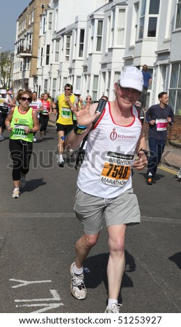 BRIGHTON, UK - APRIL 18: The first Brighton Marathon, with 12000 runners participating. April 18, 2010 in Brighton, UK.