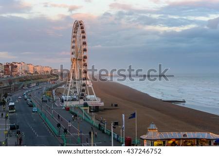 BRIGHTON, UK - CIRCA APRIL 2013: The Brighton Wheel on the seafront. - stock photo