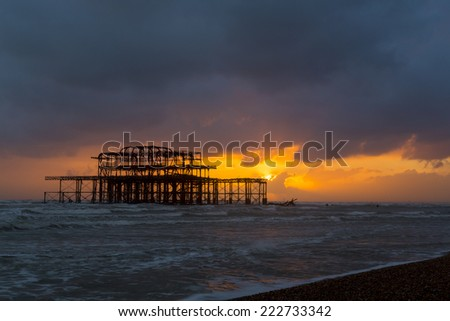 Brighton West Pier at Sunset, Sussex, England, UK