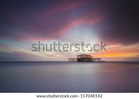 Brighton West Pier at Sunset, Sussex, UK. Long Exposure