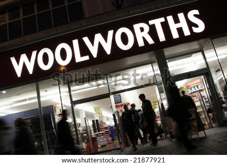 BRIGHTON WOOLWORTH DEPARTMENT STORE - DECEMBER 7, 2008: Late night shoppers at the Woolworth closure sale. - stock photo