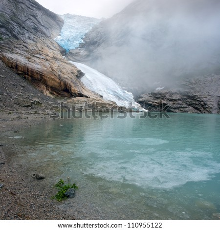 Briksdal glacier - Jostedalsbreen national park, Norway - stock photo