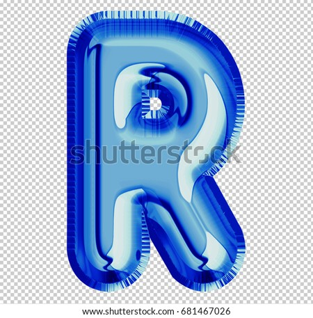 Brilliant balloon font letter R made of realistic 3d helium blue balloon with Clipping Path ready to use. For your balloon letter collection design Birthday Anniversary,New year,Holiday,Any occasional