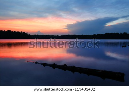 Brilliant colors of sunset over Buffalo Lake in the Northern Highland American Legion State Forest of Wisconsin