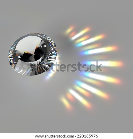Brilliant diamond and caustic on the gray background - stock photo