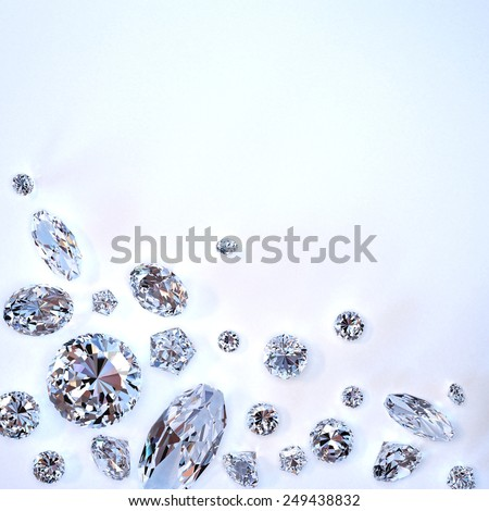 Brilliant diamond scattered on white background - stock photo