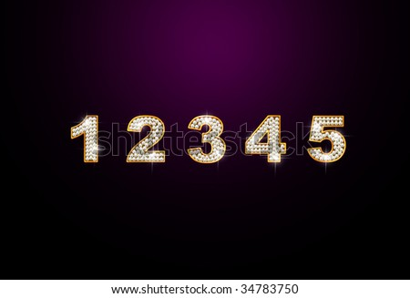 brilliant digits 1 2 3 4 5 on dark background - stock photo