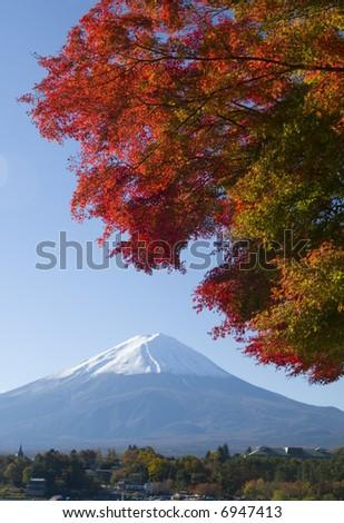 Brilliant Fall colors with Mount Fuji - stock photo