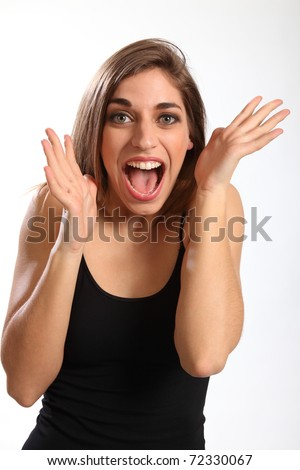Brilliant news for young woman - stock photo