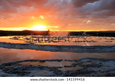 Brilliant sunset landscape in Yellowstone National Park, Wyoming, USA. - stock photo
