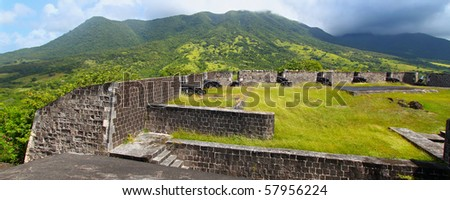 Brimstone Hill Fortress below Mount Liamuiga on the island of St Kitts - stock photo